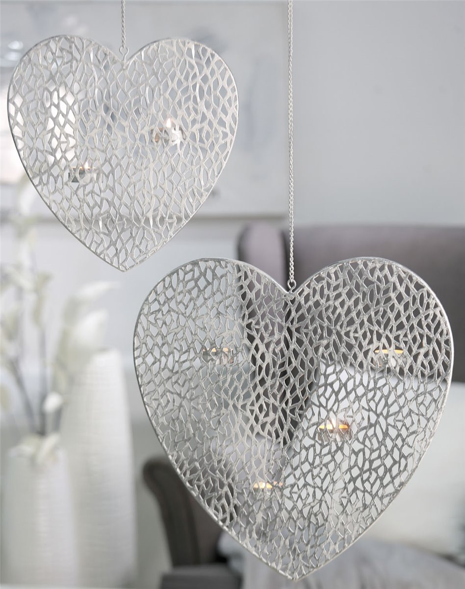 h ngeleuchter herz metall wei h he 29 cm ebay. Black Bedroom Furniture Sets. Home Design Ideas