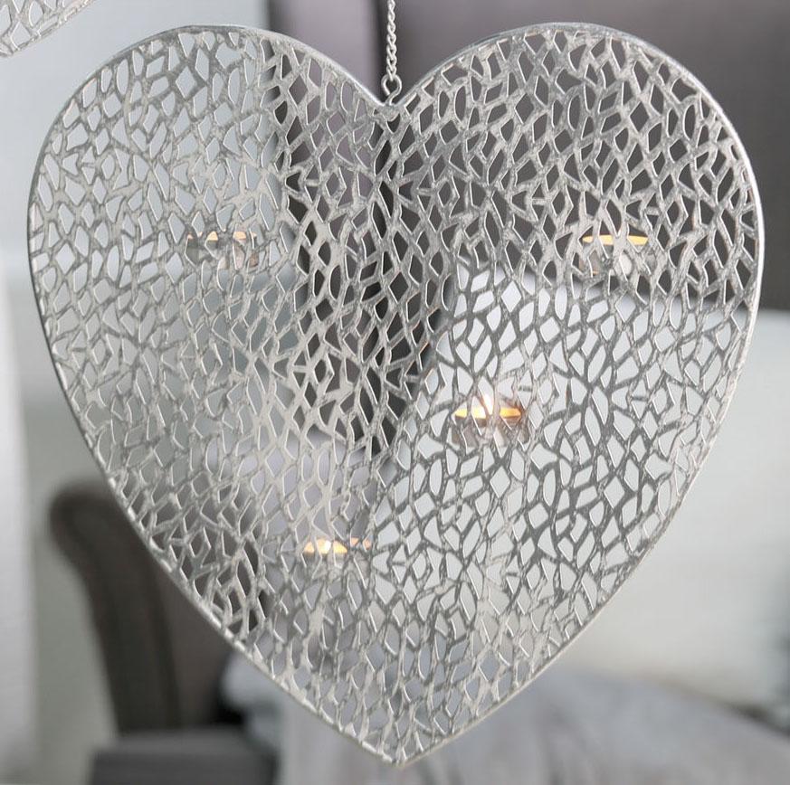 h ngeleuchter herz metall wei h he 40 cm ebay. Black Bedroom Furniture Sets. Home Design Ideas