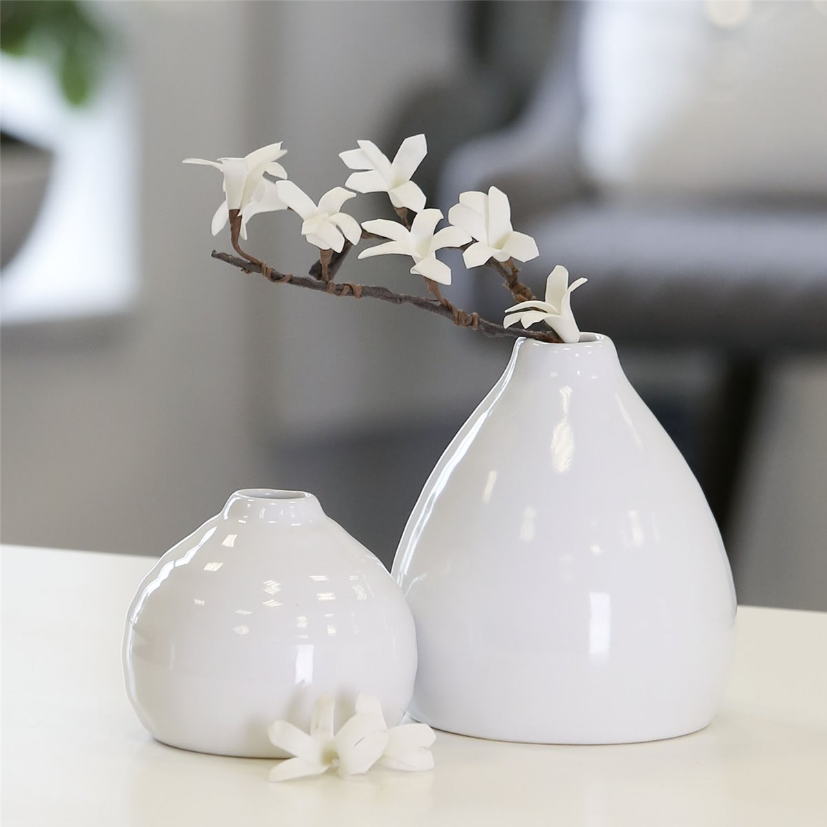 blumenvase rillo 2er set vase tischdeko keramik wei ebay. Black Bedroom Furniture Sets. Home Design Ideas