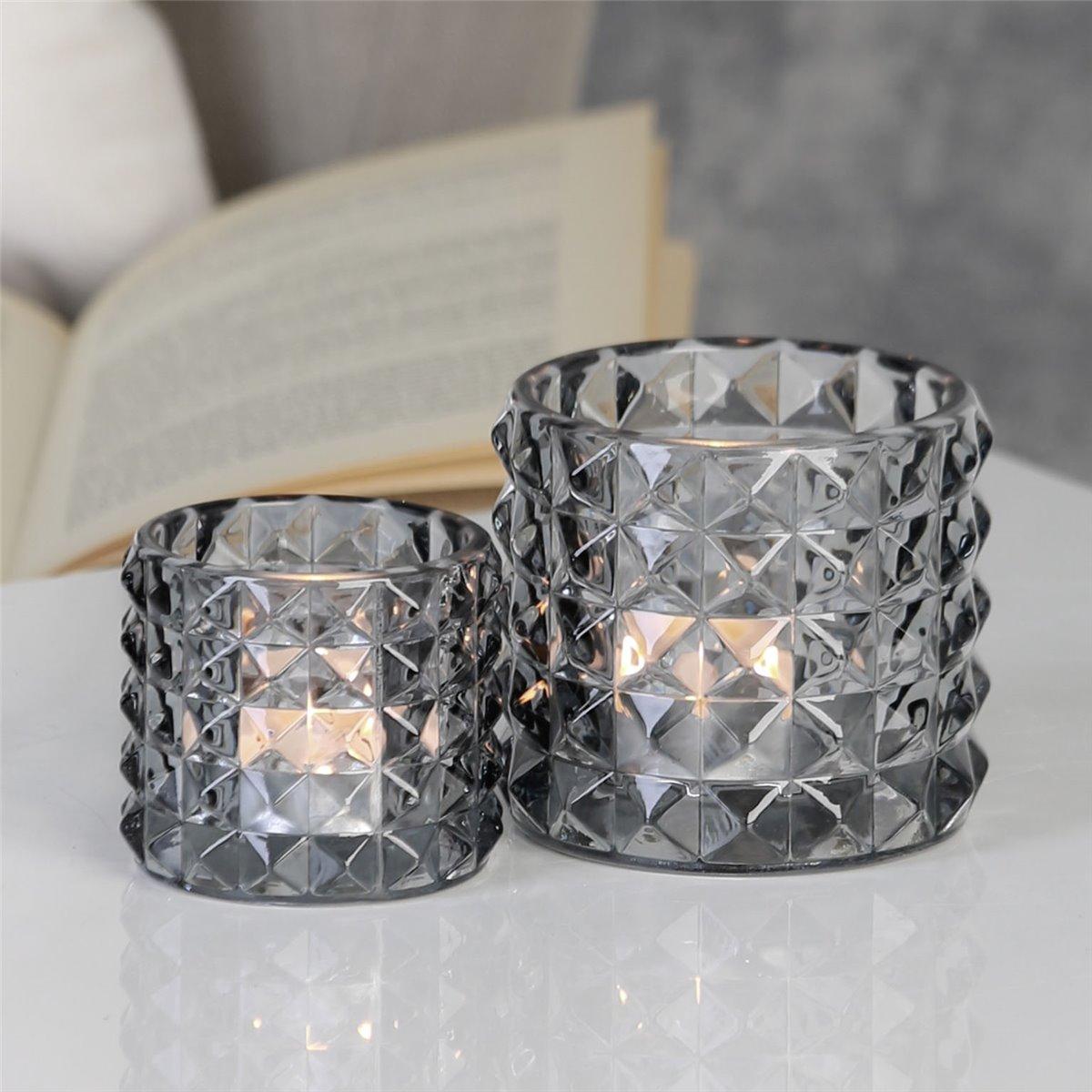 windlichter 2er set retro teelichthalter glas rauchfarben. Black Bedroom Furniture Sets. Home Design Ideas