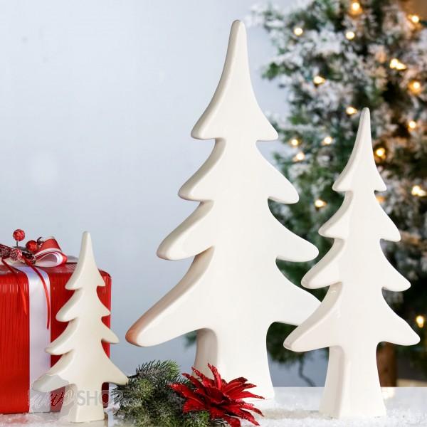 weihnachtsdekoration tanne nordic porzellan wei 38 cm ebay. Black Bedroom Furniture Sets. Home Design Ideas