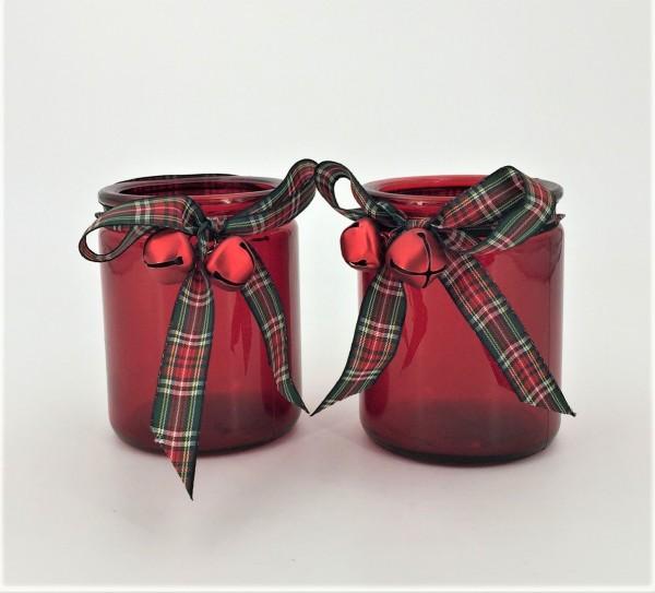Windlicht Teelichhalter Bell 2er Set Glas rot Höhe 10 cm