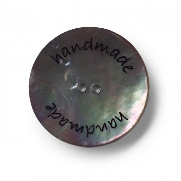"Knopf Perlmutt, ""handmade"", 2-Loch, 34mm, dunkelblau"