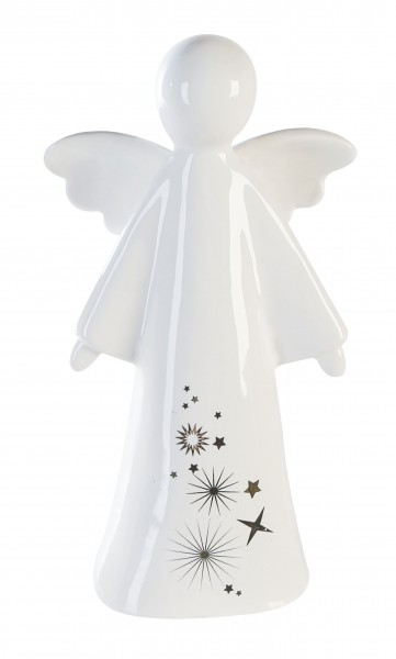 Dekofigur Weihnachtsfigur Engel Sternstunden Keramik weiß 21,5 cm
