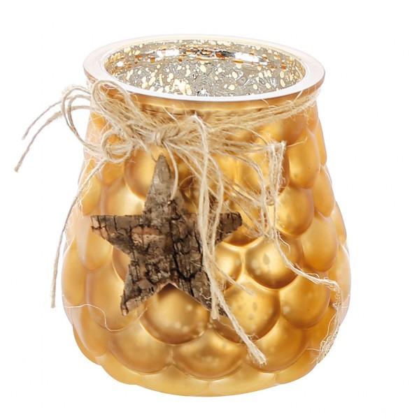 Windlicht Teelichthalter Cone Glas gold Ø 10 cm