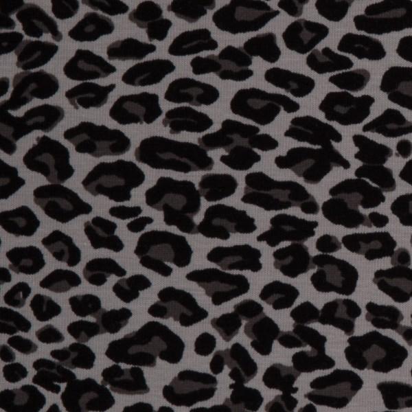 Jersey Leopardenmuster Leo-Print grau Baumwolljersey 0,5 Meter