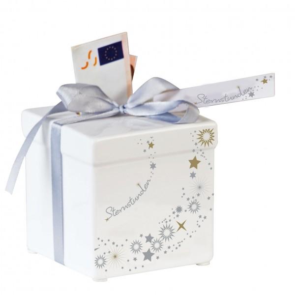 Spardose Sternstunden Geldgeschenk Keramik weiß silber 8 cm