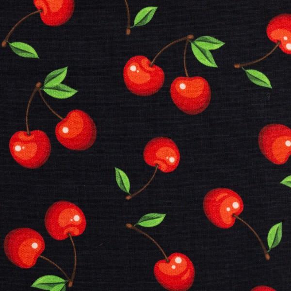 Stoff Baumwolle Kirschen schwarz 0,5 Meter