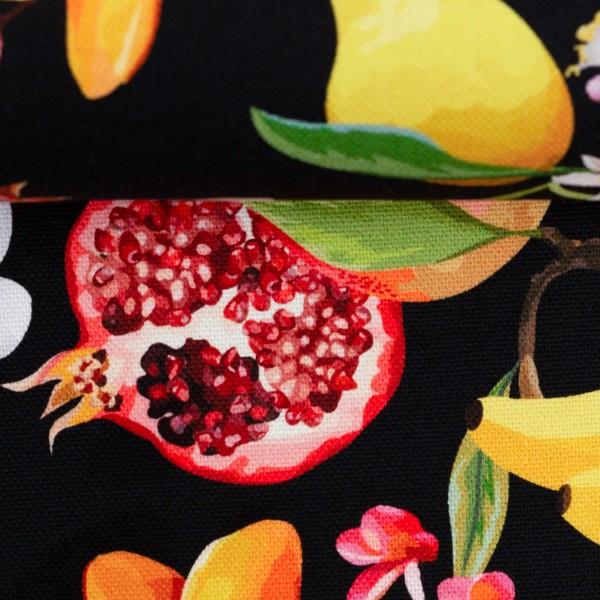 Canvas Baumwolle Früchte schwarz 0,5 Meter