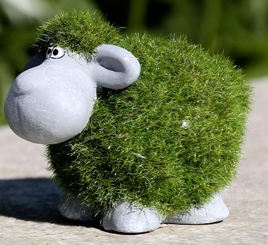 Figur Schafe 2er Set Poly Moos grau grün Höhe 6 cm