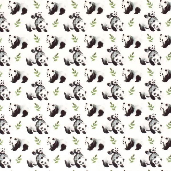 Jersey Pandas grauweiß Digitaldruck 0,5 Meter