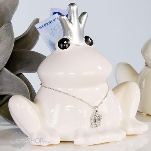 Spardose Sparschwein Frosch Froschkönig Keramik weiß 14cm