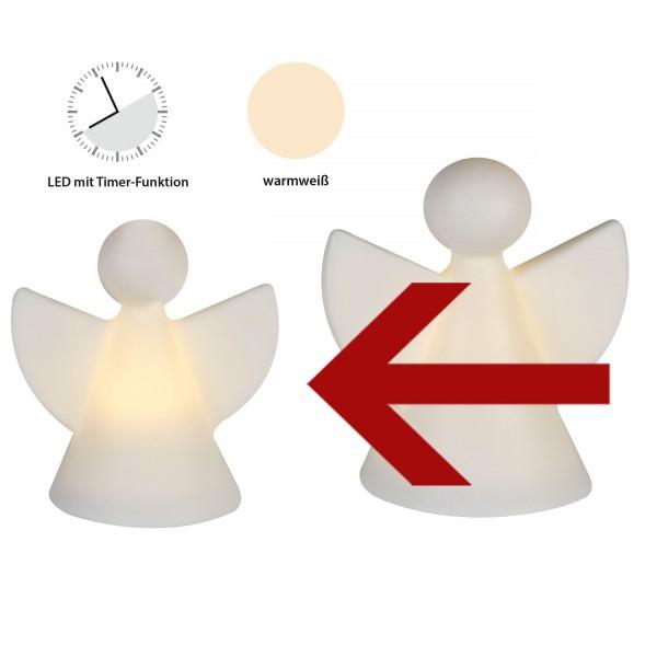 Engelfigur aus Keramik mit LED Beleuchtung weiß, 7 cm, matt