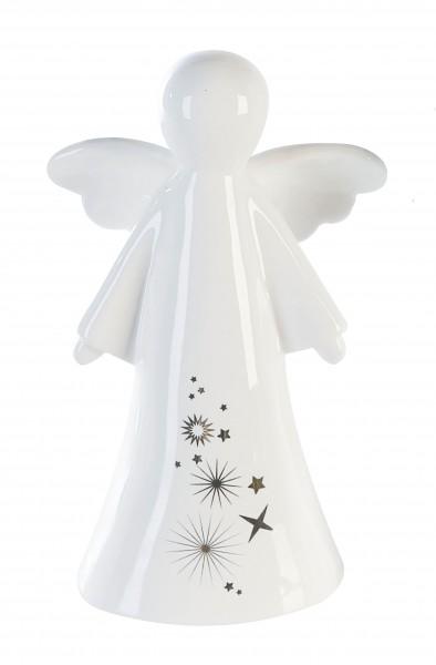 Weihnachtsfigur Dekofigur Engel Sternstunden Keramik weiß 17 cm