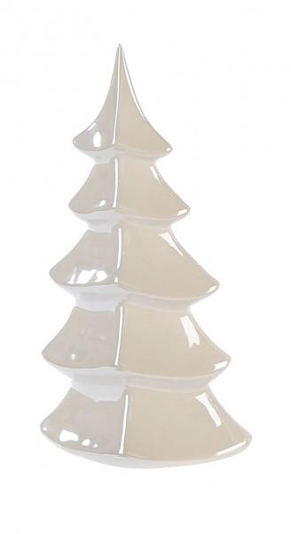 Dekofigur Weihnachtsbaum Tanne Glossy Keramik perlmutt 25 cm