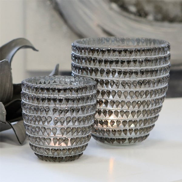 Teelichthalter Leuchter 2er Set Drops Glas klar Ø 9 und 12 cm