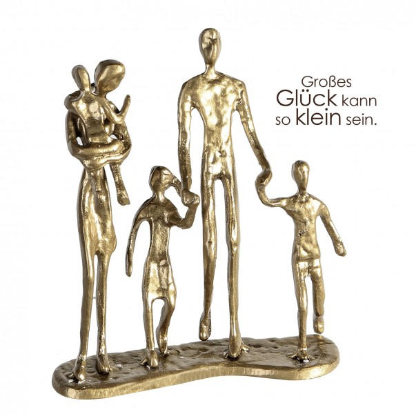 Design Skulptur Familie Eisen goldfarben 3 Kinder 19 cm Skulptur Kunstobjekt Bildhauerei