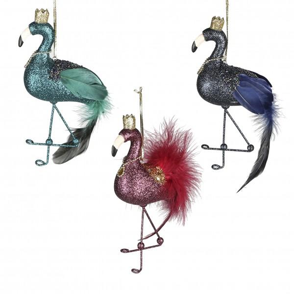 Christbaumschmuck Flamingo King petrol blau rot 21 cm 3 Stück