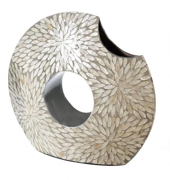 Vase Dekovase Capiz grau perlmutt MDF 40 cm