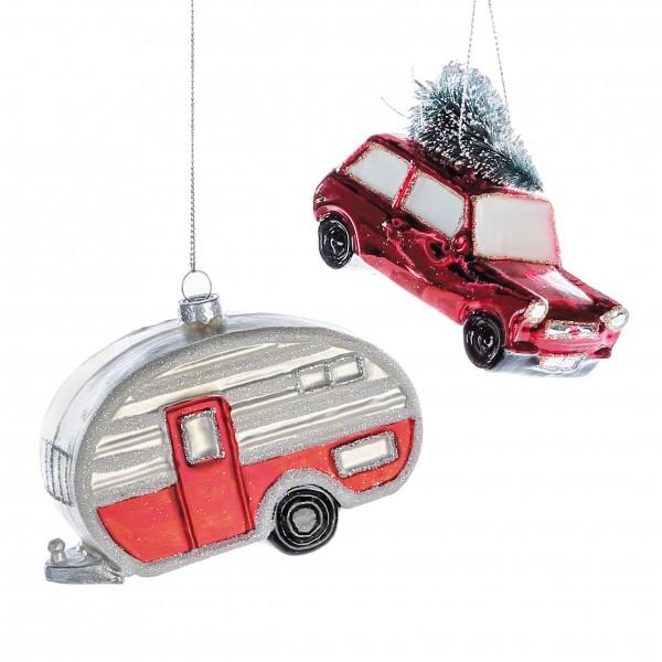 Christbaumschmuck Hänger Set Auto Wohnwagen Glas rot weiß 8 cm