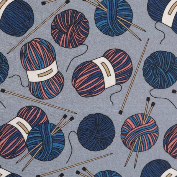 Baumwolle Webware Wollknäuel grau Stricken 0,5 Meter