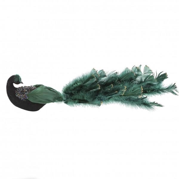 Christbaumschmuck Pfau dunkelgrün / dunkelgblau 45 cm