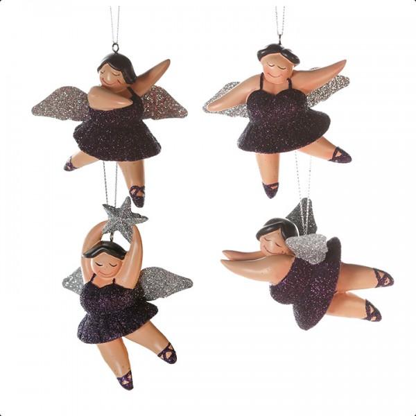 Weihnachtsbaumschmuck Hänger Engel Betty 4er Set violett / silber