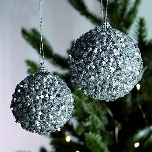 Weihnachtsbaumkugel Christbaumkugel Glitzer 4er Set Silber Ø 8 cm