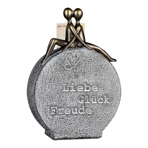 Spardose Geldgeschenk Liebe Glück Paar Freude Weihnachtsengel Bronze Steinoptik
