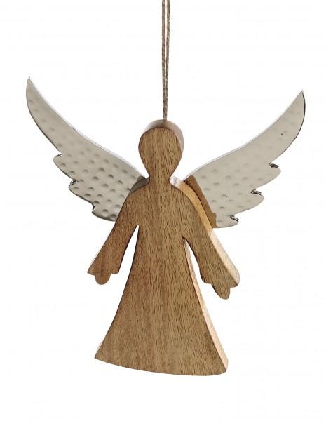 Engel Weihnachtsengel Hänger Audra Weihnachtsdeko Holz Alu 20 cm