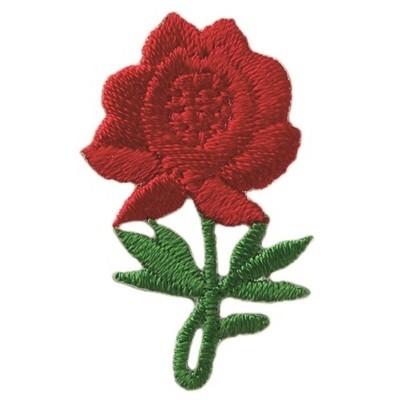 Bügelmotiv Rose rot 2 x 3,5 cm.