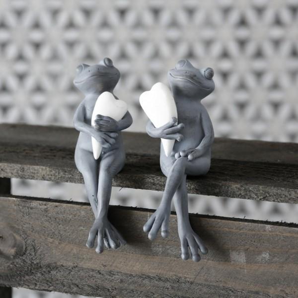 Deko-Figur Kantenhocker 2-er Set Frösche mit Herz Theda 13 cm