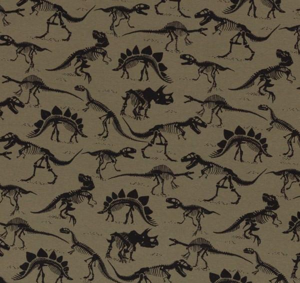 Baumwolljersey Dinosaurier 0,5 Meter khaki / schwarz Skelett