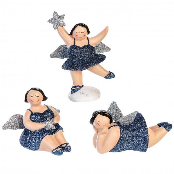 Weihnachtsdeko Figur Engel Betty 3er Set nachtblau silber