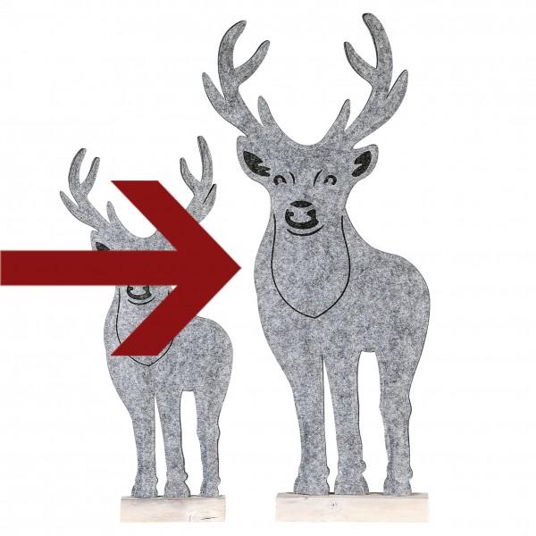 Dekofigur Weihnachtsfigur Rentier Homely Filz / Holz grau / weiß 83 cm