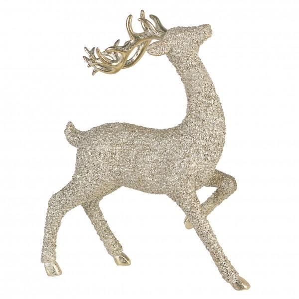 Dekofigur Rentier Perl gold Strukturoptik Weihnachten 24 cm