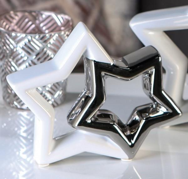 Weihnachtsdeko In Silber Und Weiß.Weihnachtsdeko Stern Shaky Keramik Weiß Silber 17 Cm
