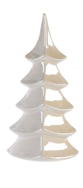 Dekofigur Tanne Glossy Weihnachtsbaum Keramik perlmutt 36 cm