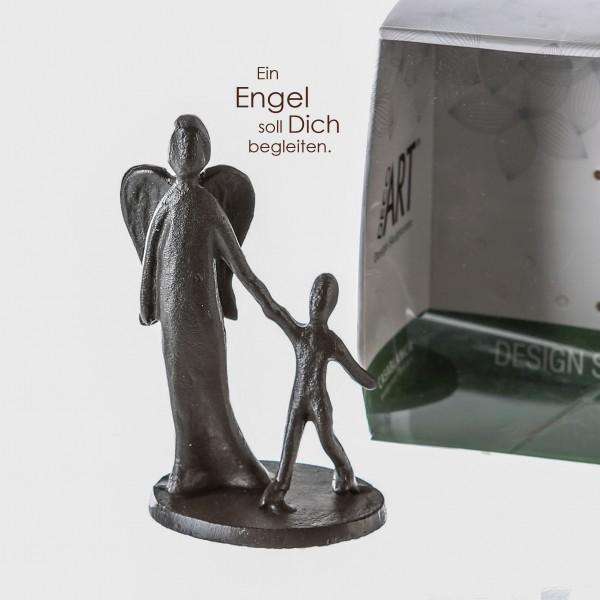 Mini Design Skulptur Schutzengel Engel Taufgeschenk Eisen brüniert 10 cm