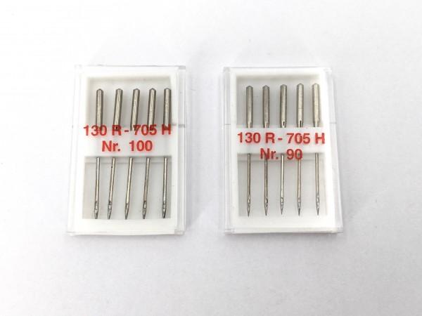 Nähmaschinennadeln Flachkolben 2er Set 130/705 H Nr. 90, 100