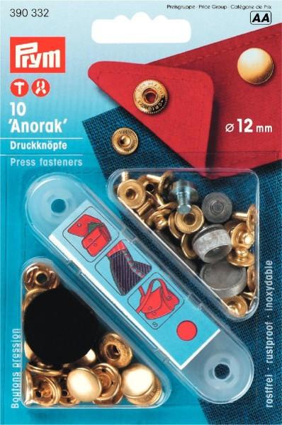 Anorak-Druckknöpfe Ø 12 mm in goldfarben,