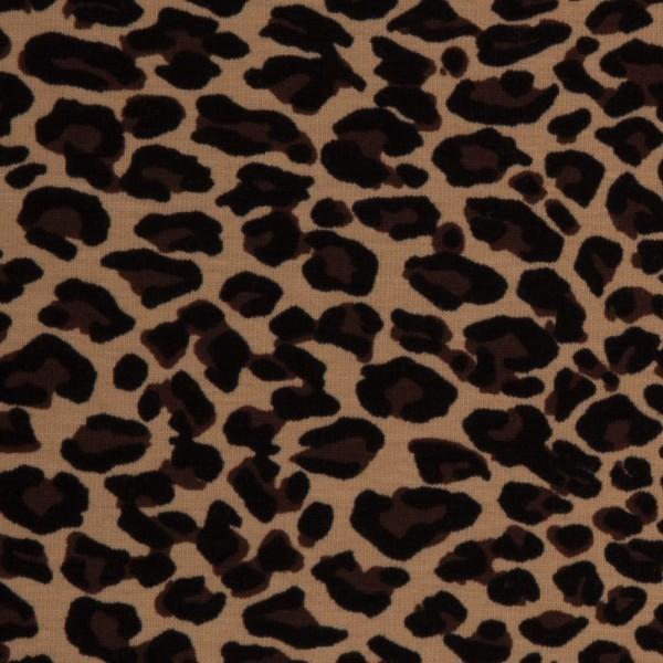 Jersey Leopardenmuster Leo-Print auf beige Baumwolljersey 0,5 Meter