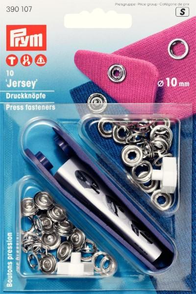 Jersey-Druckknöpfe silberfarben 10 mm