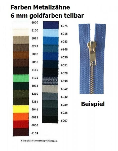 Reißverschlüsse Metallzähne goldfarben, Kettenbreite 6 mm teilbar