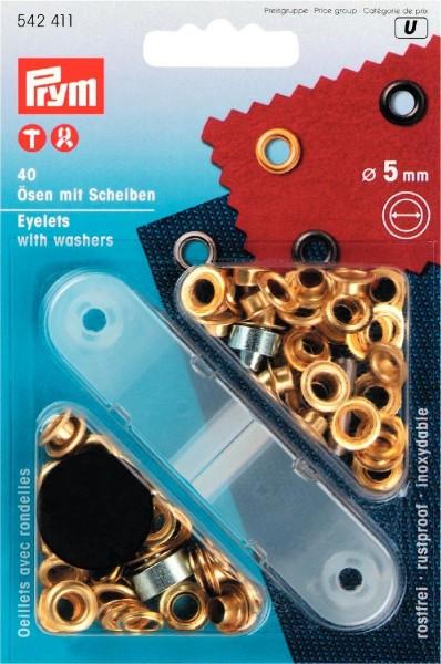 Ösen und Scheiben Ø 5 mm goldfarben