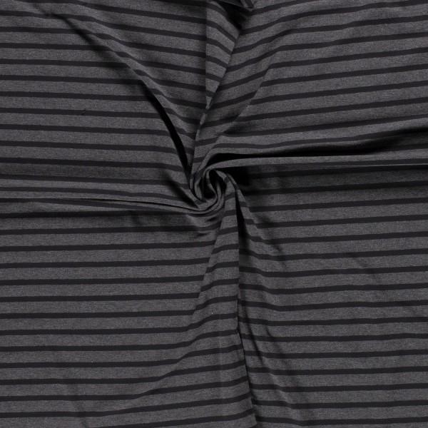 Gestreifter Baumwoll-Jersey Streifen Ringel grau schwarz 0,5 Meter