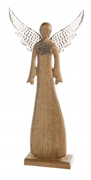 Dekofigur Engel Audra Weihnachtsdeko Holz Alu 64 cm