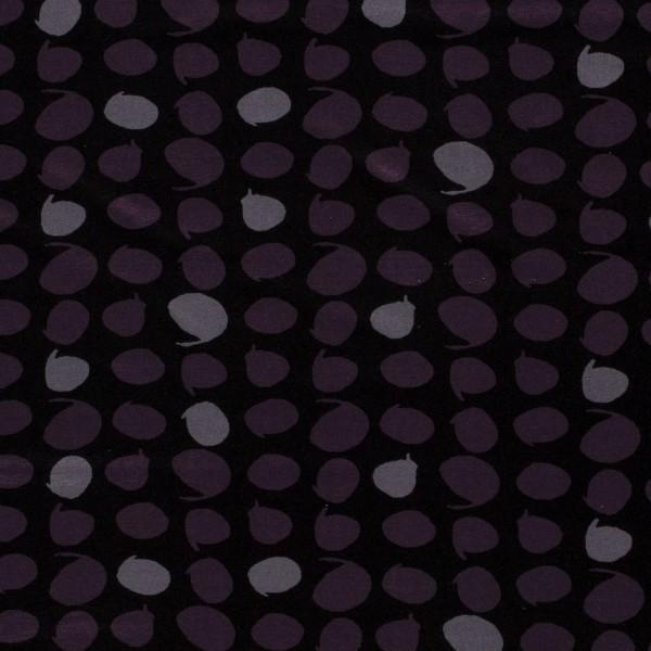Viskose Jersey Schwarz Grau Magenta mit Punkten Dots