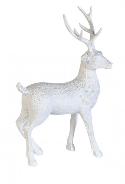 Dekofigur Hirsch Adventsdeko Poly matt weiß 29 cm