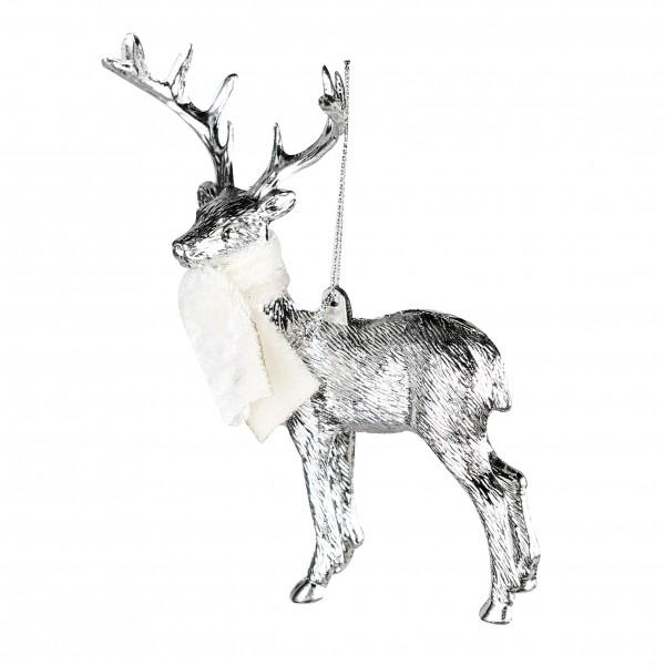 Christbaumschmuck Deer Hirsch silber mit Schal 15 cm 4 Stück